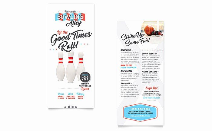 Rack Card Template Word Inspirational Bowling Rack Card Template Word & Publisher