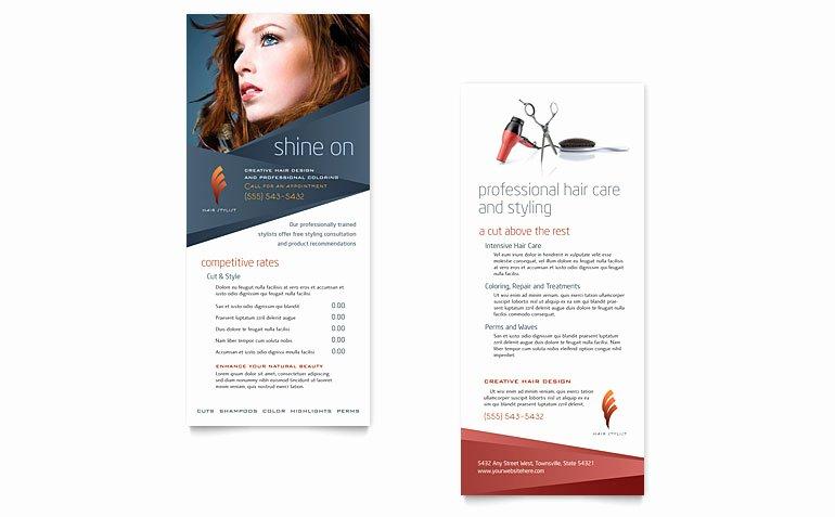 Rack Card Template Word Lovely Hair Stylist & Salon Rack Card Template Word & Publisher
