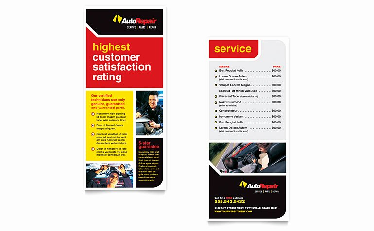 Rack Card Template Word New Auto Repair Rack Card Template Word & Publisher