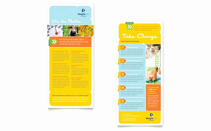 Rack Card Template Word Unique Weight Loss Clinic Rack Card Template Design