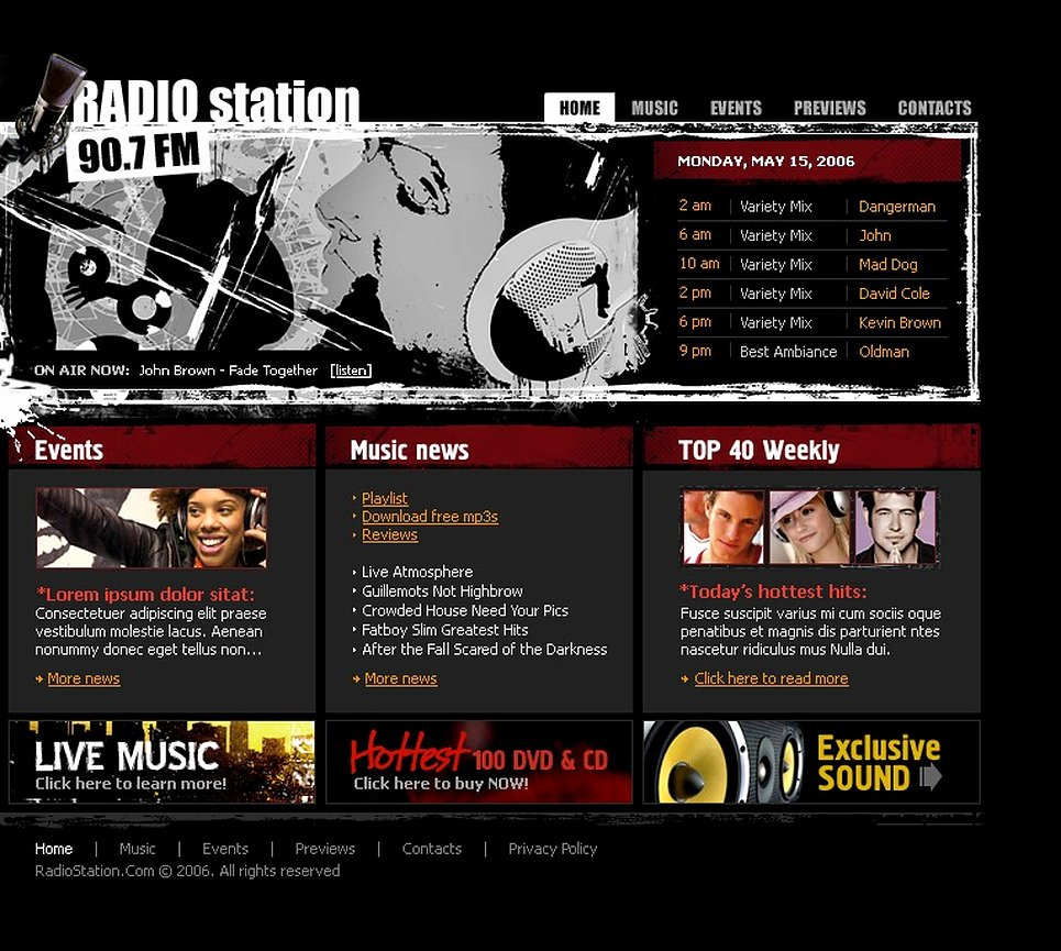 Radio Station Website Template Awesome Radio Website Flash Template