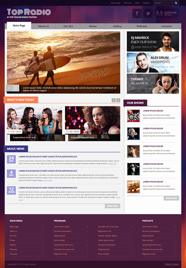 Radio Station Website Template Awesome top Line Radio Station Bootstrap HTML Template On Behance