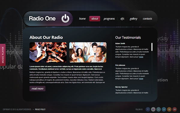 Radio Station Website Template Beautiful Radio E Radio Station HTML5 Template On Behance