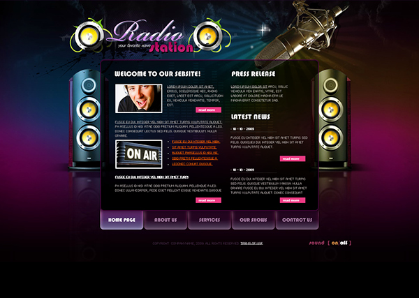 Radio Station Website Template Beautiful Radio Station Dynamic Flash Template On Behance