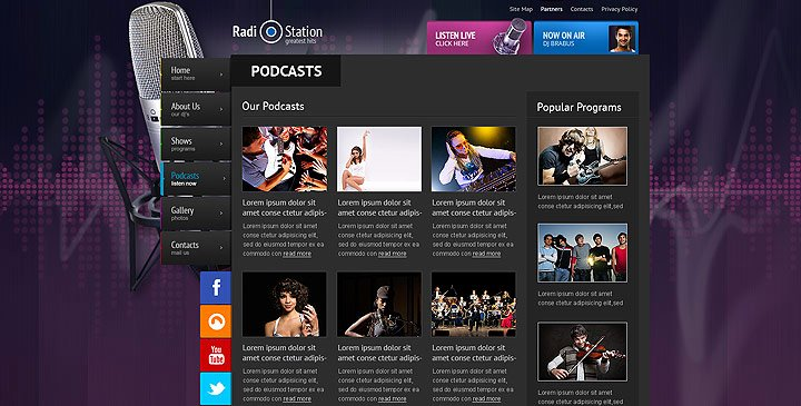 Radio Station Website Template Beautiful Radio Template Line Radio Station Website Template