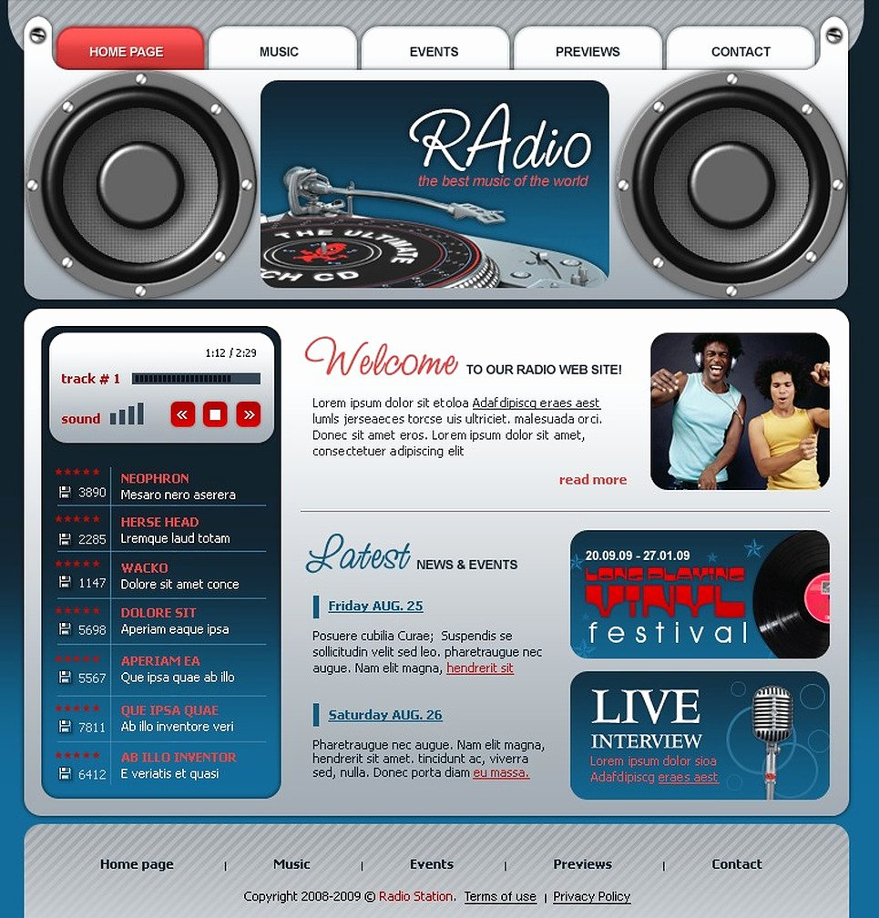 Radio Station Website Template Elegant Radio Website Flash Template