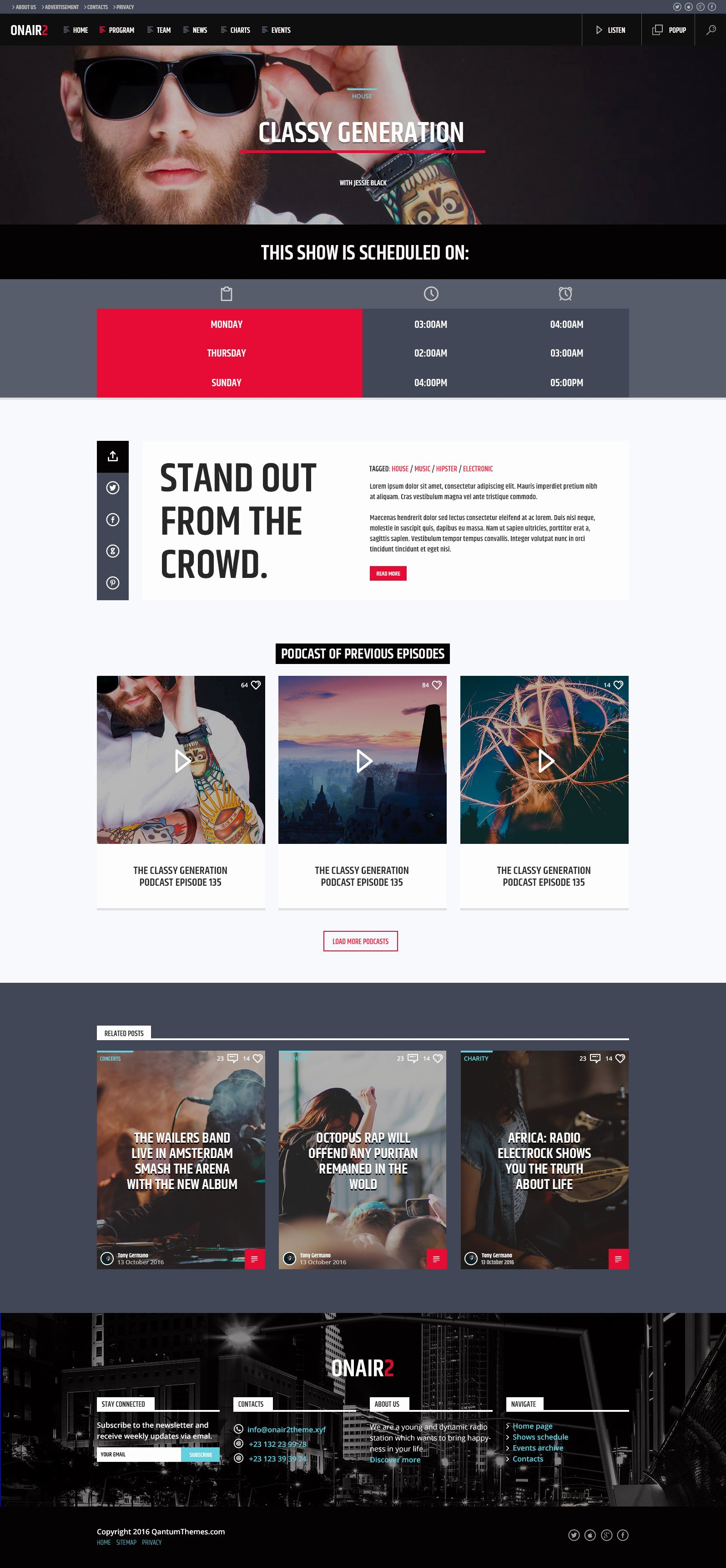 Radio Station Website Template Fresh Onair2 Radio Station Psd Website Template by