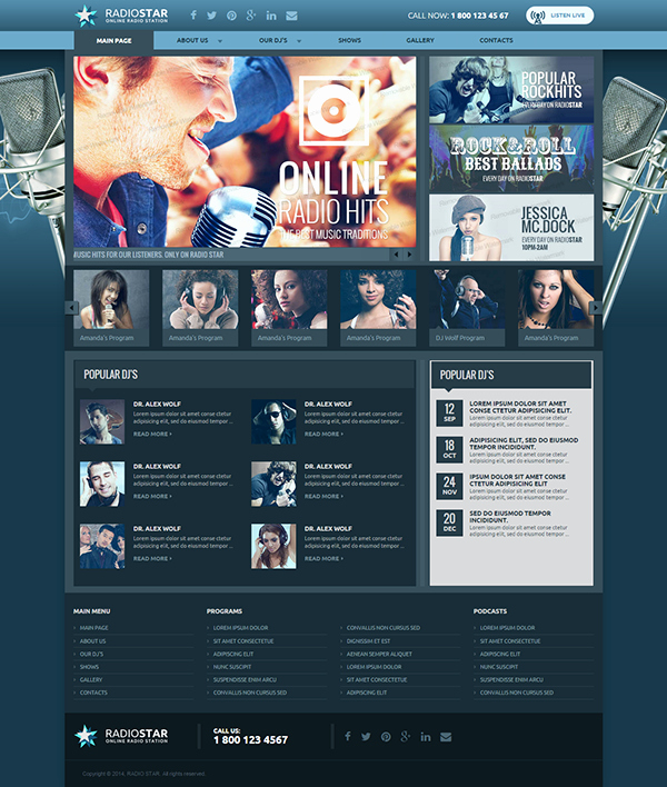 Radio Station Website Template New Responsive Radio Station HTML Template On Behance