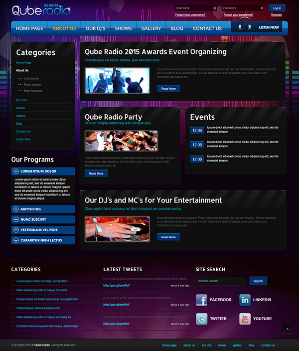 Radio Station Website Template Unique Radio St V3 Joomla Template On Behance
