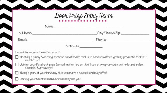Raffle Entry form Template Inspirational Direct Sales Door Prize Entry form Black Chevron Instant