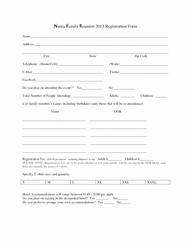 Raffle Entry form Template Inspirational Raffle Entry form Template Family Reunion Registration