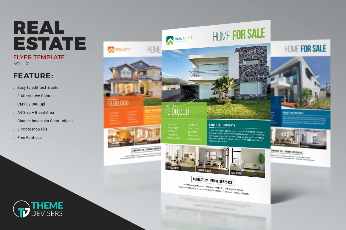 Real Estate Advertisement Template Inspirational Simple Real Estate Flyer Flyer Templates Creative Market
