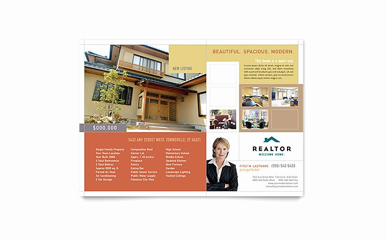Real Estate Flyer Template Publisher Beautiful Realtor & Real Estate Agency Flyer Template Word & Publisher