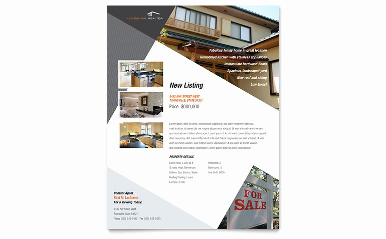 Real Estate Flyer Template Publisher Lovely Contemporary & Modern Real Estate Flyer Template Word