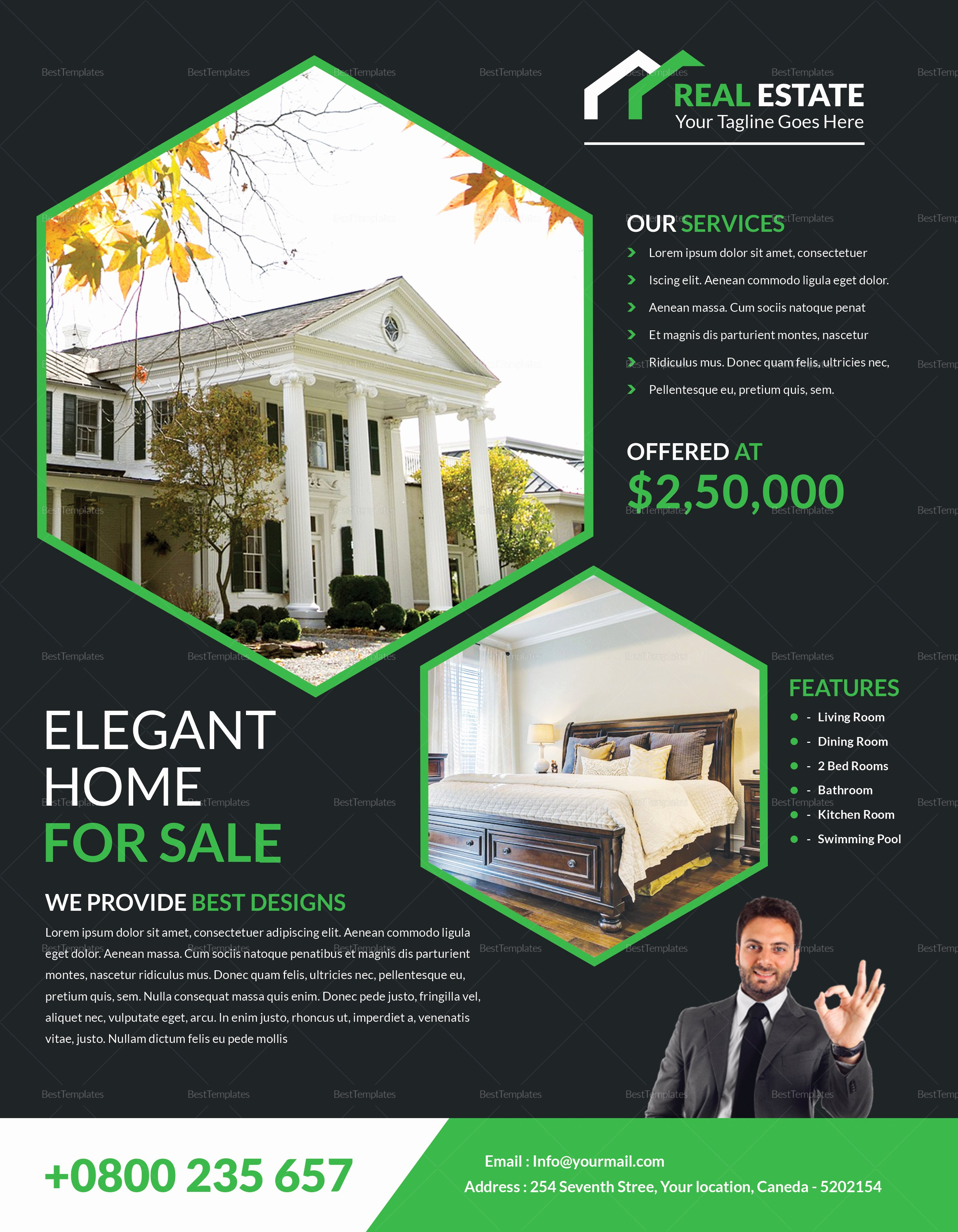 Real Estate Flyer Template Word Awesome Elegant Real Estate Flyer Design Template In Word Psd