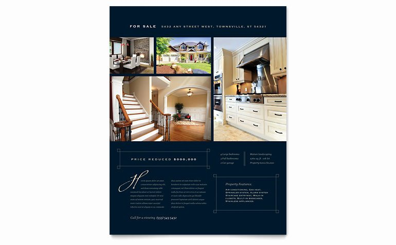 Real Estate Flyer Template Word Awesome Luxury Home Real Estate Flyer Template Word & Publisher