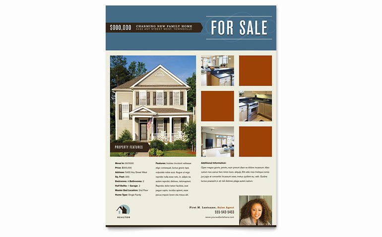 Real Estate Flyer Template Word Beautiful Residential Realtor Flyer Template Word & Publisher
