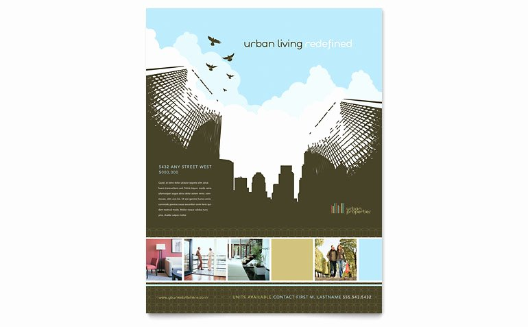 Real Estate Flyer Template Word Beautiful Urban Real Estate Flyer Template Word & Publisher