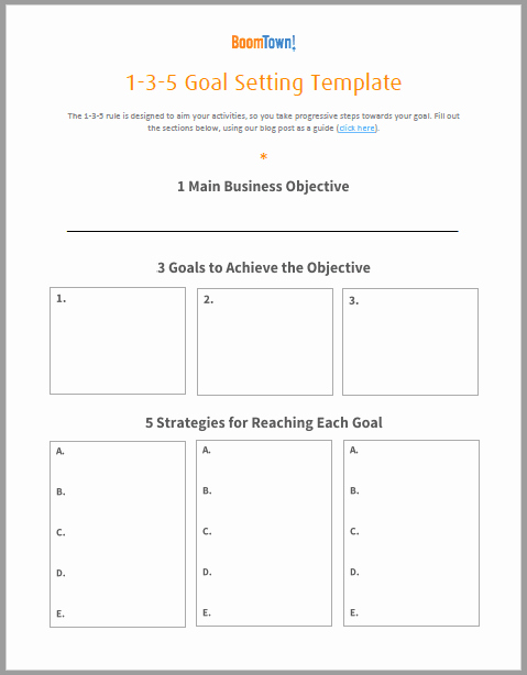 Real Estate Goals Template Beautiful Notes On Keller Williams 1 3 5 Goal Setting Template