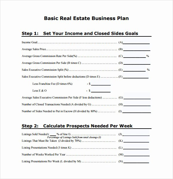Real Estate Goals Template Beautiful Sample Real Estate Business Plan Template 6 Free