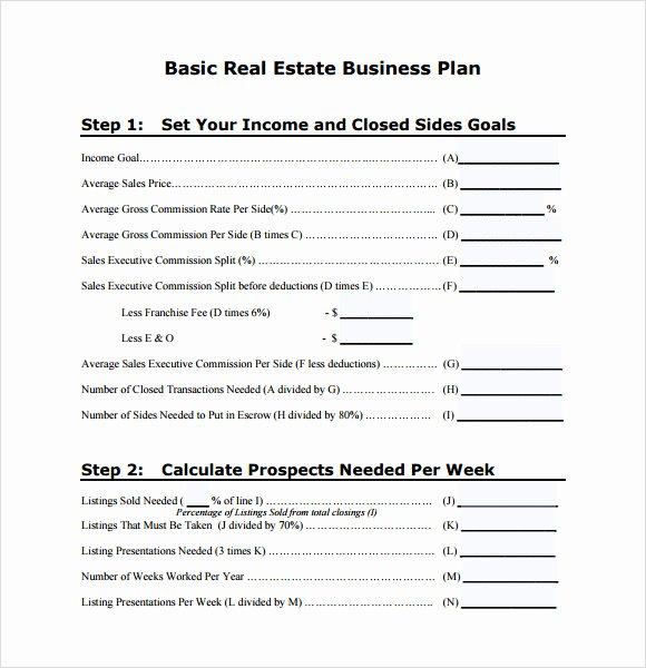 Real Estate Goals Template Beautiful Sample Real Estate Business Plan Template 6 Free