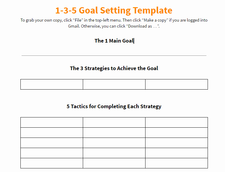 Real Estate Goals Template Elegant Notes On Keller Williams 1 3 5 Goal Setting Template