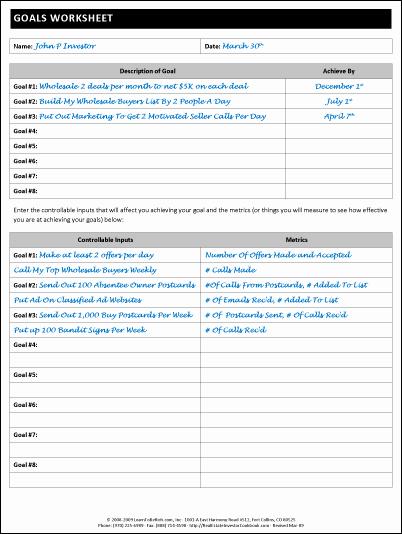 Real Estate Goals Template Fresh Goals Worksheet