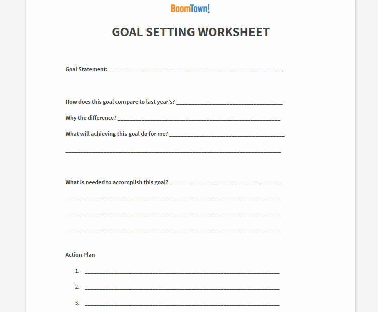 Real Estate Goals Template Inspirational Goal Setting Archives Boomtown