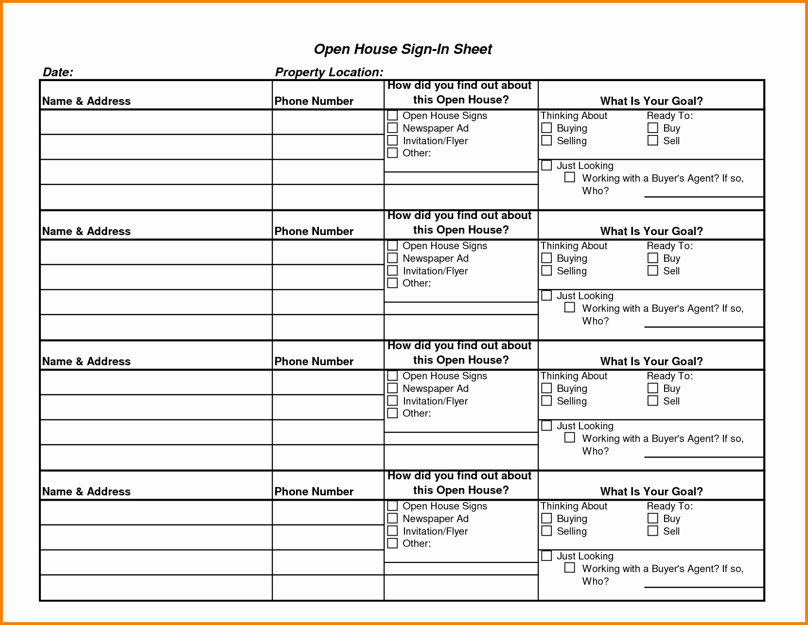 Real Estate Goals Template New 4 5 Keller Williams Open House Sign In Sheet