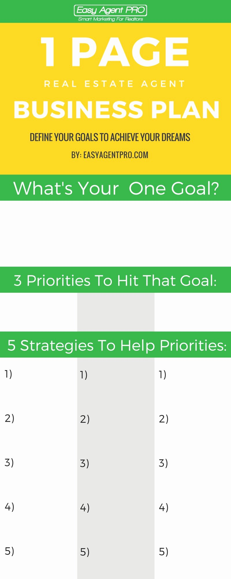Real Estate Goals Template New the Ultimate Real Estate Business Plan to Hit Your Goals