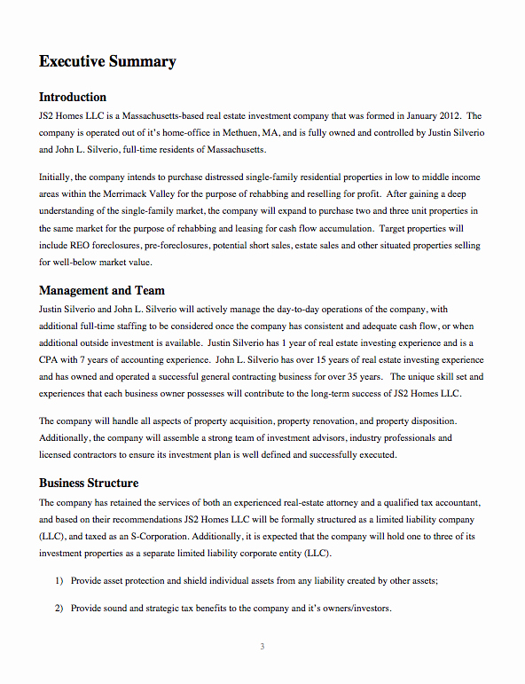 Real Estate Investment Proposal Template Best Of Business Plan for Real Estate Investing