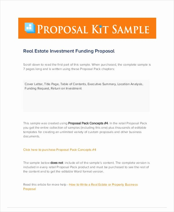 real estate investment proposals