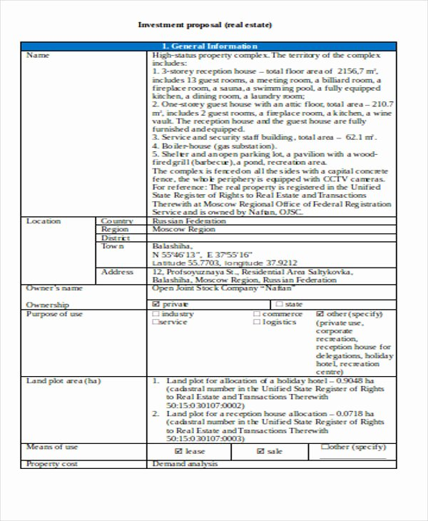 Real Estate Investment Proposal Template Unique 13 Real Estate Business Proposal Templates Free Word
