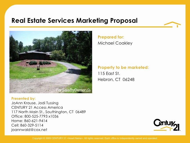 Real Estate Investment Proposal Template Unique Real Estate Services Proposal Coakley