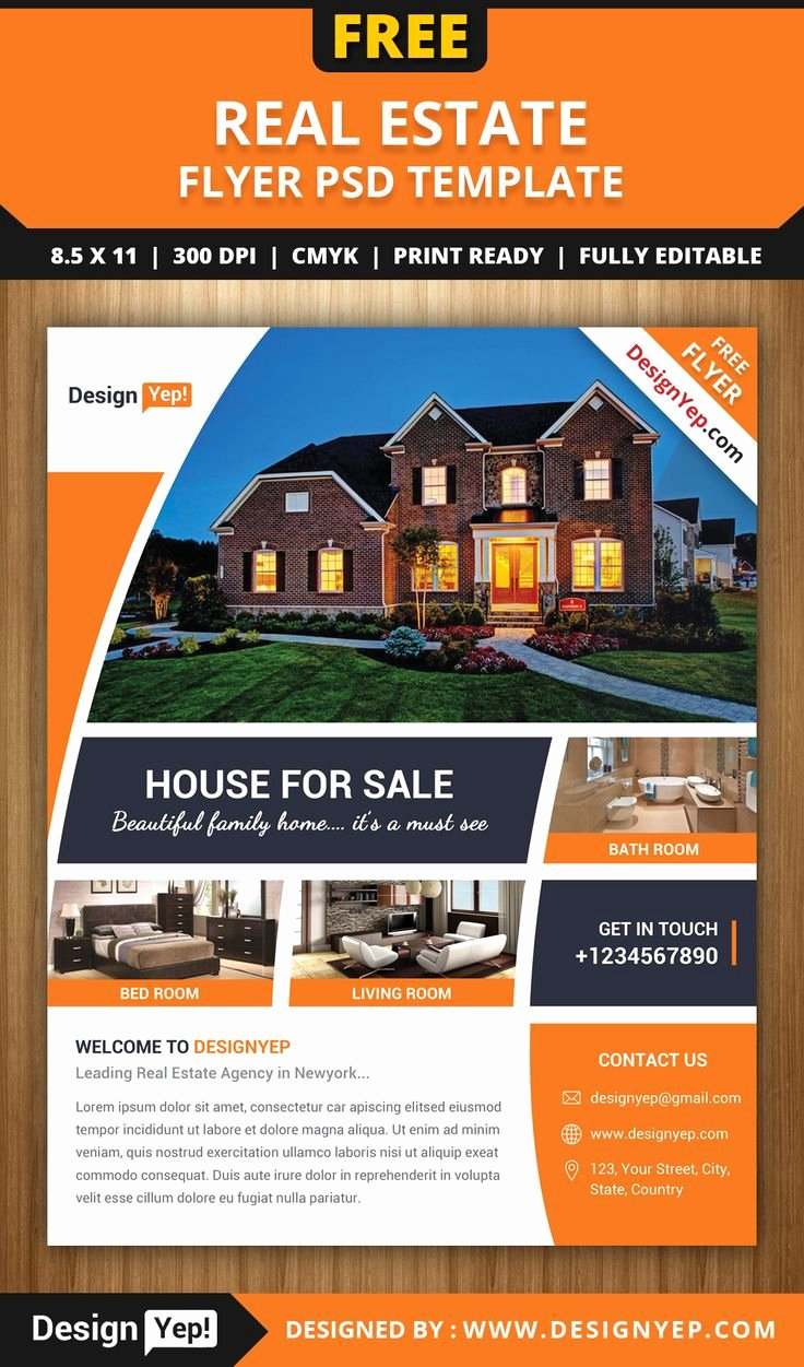 Real Estate Listing Flyer Template Beautiful Free Real Estate Flyer Psd Template 7861 Designyep