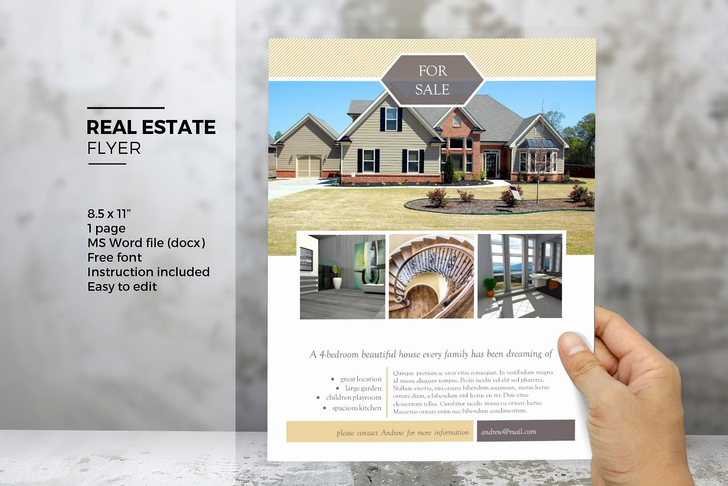 Real Estate Listing Flyer Template Beautiful Ms Word Real Estate Flyer Template Flyer Templates