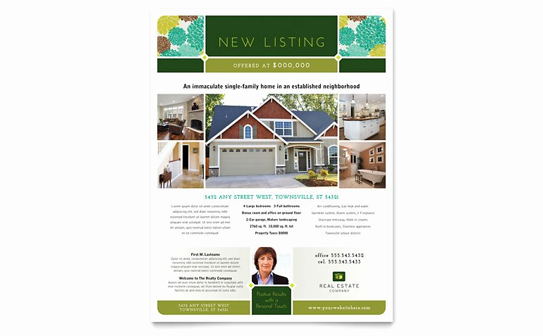 Real Estate Listing Flyer Template Elegant Real Estate Flyer Template Word & Publisher