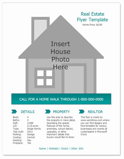 Real Estate Listing Flyer Template Elegant Worddraw Free Real Estate Flyer Template for