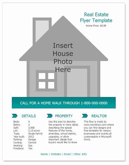 Real Estate Listing Flyer Template Elegant Worddraw Free Real Estate Flyer Template for