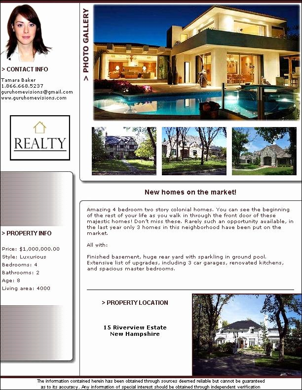 Real Estate Listing Flyer Template Fresh Real Estate Flyer Templates Pdf format Brochure Templates