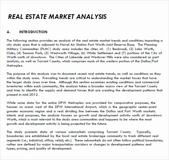Real Estate Market Analysis Template Awesome Real Estate Market Analysis Template 7 Free Samples