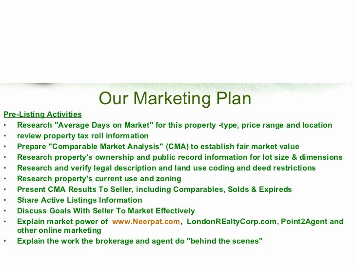 Real Estate Marketing Plan Template Awesome Real Estate Listing Marketing Plan