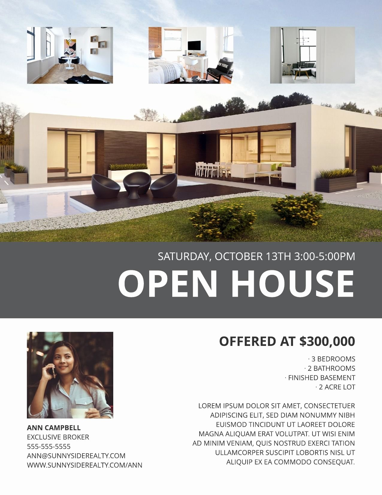 Real Estate Open House Template Lovely Modern Open House Flyer Template
