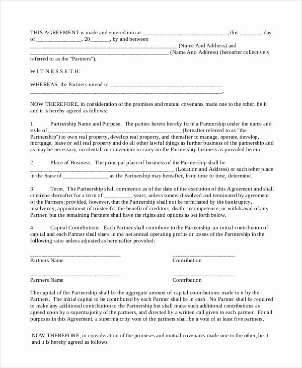 Real Estate Partnership Agreement Template Beautiful Partnership Contract 9 Free Word Pdf Documents
