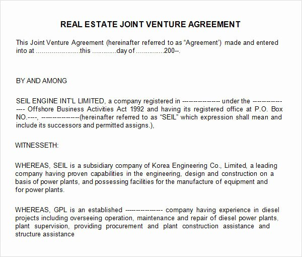 Real Estate Partnership Agreement Template Best Of 10 Joint Venture Templates