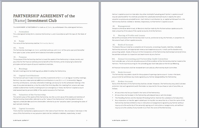 Real Estate Partnership Agreement Template Best Of Printable Sample Partnership Agreement Template form