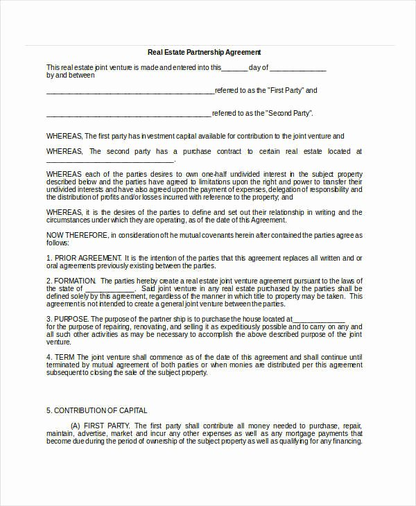 Real Estate Partnership Agreement Template Elegant General Partnership Agreement 9 Free Pdf Word