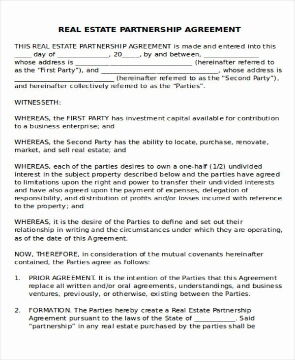 Real Estate Partnership Agreement Template Inspirational 42 Agreement Templates In Word