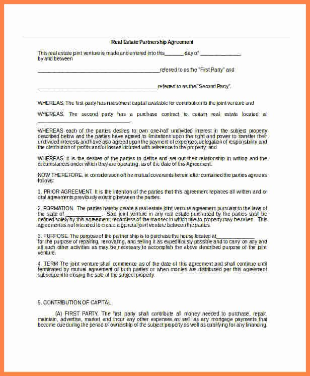 Real Estate Partnership Agreement Template Lovely 8 Real Estate Partnership Agreement Template