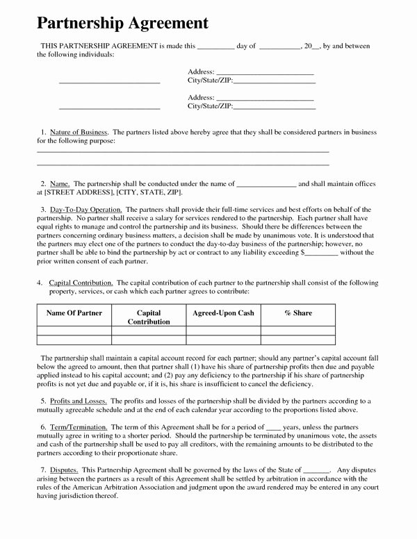 Real Estate Partnership Agreement Template Luxury Printable Sample Partnership Agreement Sample form